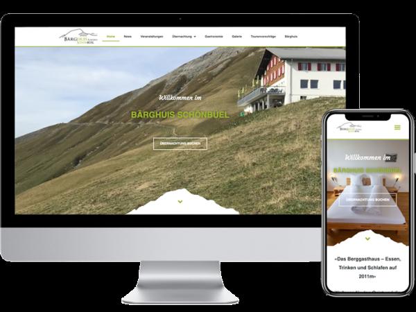 Webdesign für Bärghuis Schönbüel von Yanick Küchler