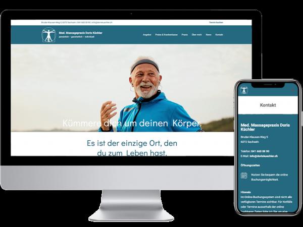 Webdesign für Med. Massagepraxis Doris Küchler von Yanick Küchler
